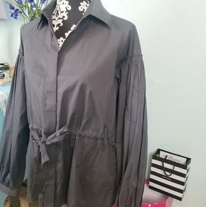 Lapis grey button down shirt with puff sleeves
